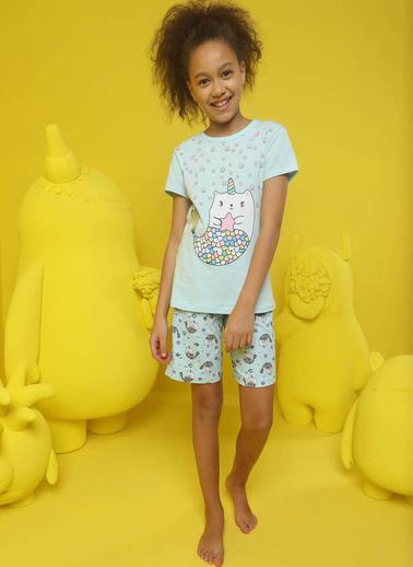 Donella Unicorn Baskılı Kız Çocuk Şortlu Pijama Takım Mavi